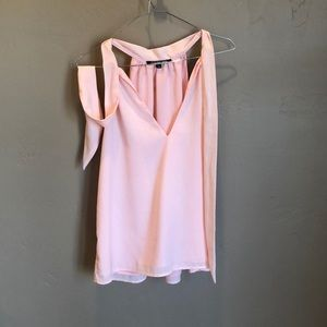 Baby pink satin top with neck tie and deep V neck